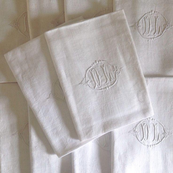 Hattie Hatfield New stock | french antique monogrammed napkins, set of 12
