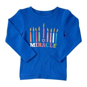 got this shirt at Carter's outlet for both girls for Hanukkah.  candles have sparkly glitter! :)