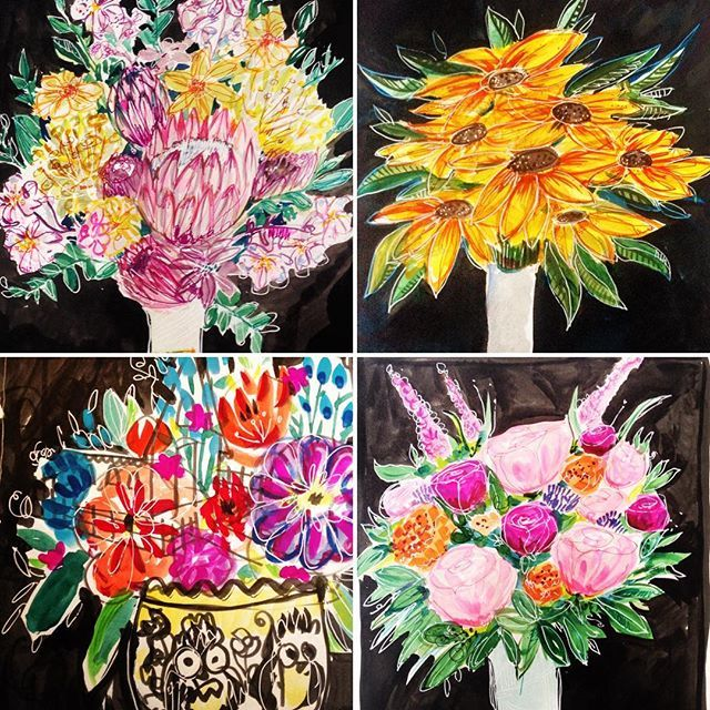 Busy blooms happy Saturday  #bouquetaday #illustration #flowers #inksofinstagram #irishillustrator #irishillustrations