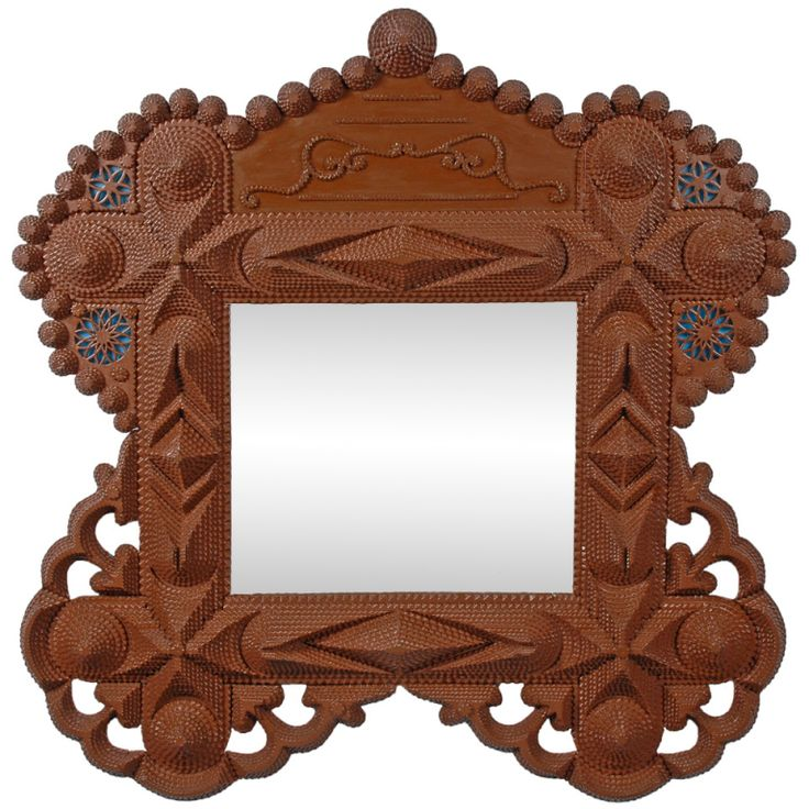 fine tramp art mirror with open work and hearts