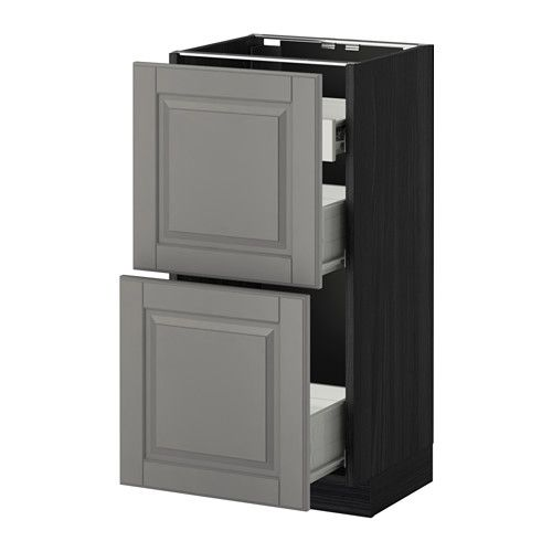 IKEA - МЕТОД / ФОРВАРА, Нап шкаф 2 фрнт пнл/1низк/2ср ящ, под дерево черный, Будбин серый, 40x37 см, , Ящик с плавным ходом.Каркас имеет устойчивую конструкцию, толщина 18 мм.