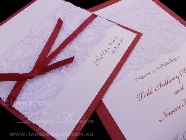 Antoinette wedding invitations with lace by www.tangodesign.com.au #redinvitations #maroonweddinginvitations #laceinvitations