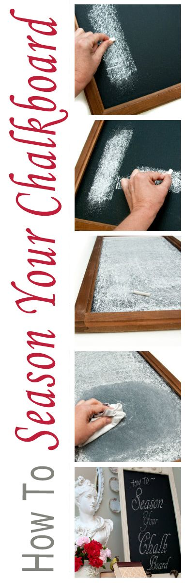 "Salvaged Inspirations: To prevent ""ghosting"" here's How to Season a New Chalkboard in seconds!"
