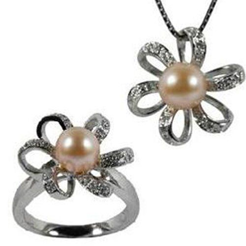 """Morning Bloom Peach Pink Cultured Pearl Cubic Zirconia Platinum Overlay Sterling Silver Pendant Necklace 18"""" & Ring Set Size 5 Dahlia. $108.45"""