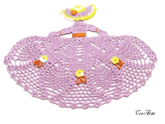 Purple crochet crinoline Lady doily