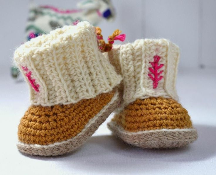 An easy crochet pattern for Sweet little Ugg-style Booties with deep Rib Cuffs. The booties have thick soles and nice round toes, topped off with chunky, easy to make double ribbed cuffs that fols over the foot like little leg-warmers! Simple lace ties go around the ankle and tie at the back to prevent the booties from being kicked off - stylish, warm AND very practical - suitable for both boys and girls.The pattern is detailed and easy to follow, and the mini Uggs are super quick to make…
