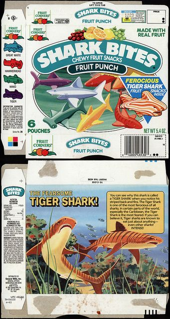 General Mills - Fruit Corners - Shark Bites - Fruit Punch - fruit snacks - box - 1991 by JasonLiebig, via Flickr