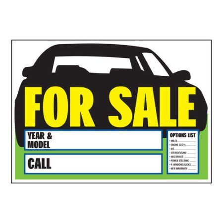 Auto For Sale With Options Sign, Black