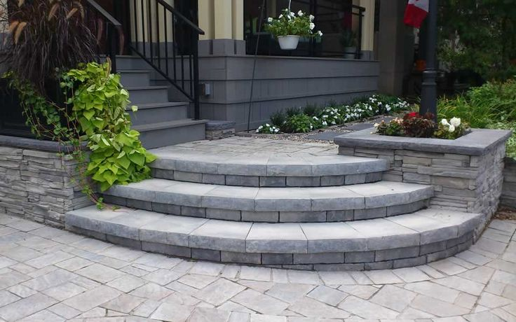 front walkways curved step