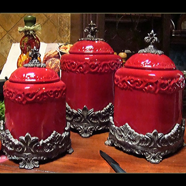 French country kitchen accessories- Red fleur de lis  porcelin cannisters with iron top and bottom- LOVE