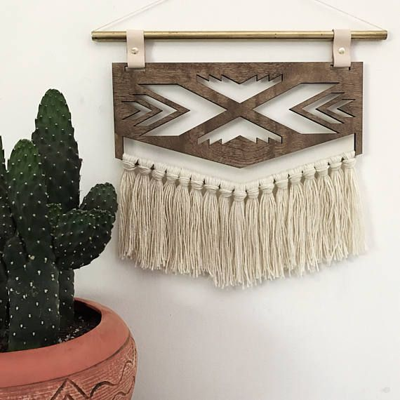 Arrow Wall Hanging  Wood Brass Yarn Leather Tapestry