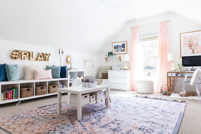 office, playroom, creative space, kilim rug, organization, glam, boho