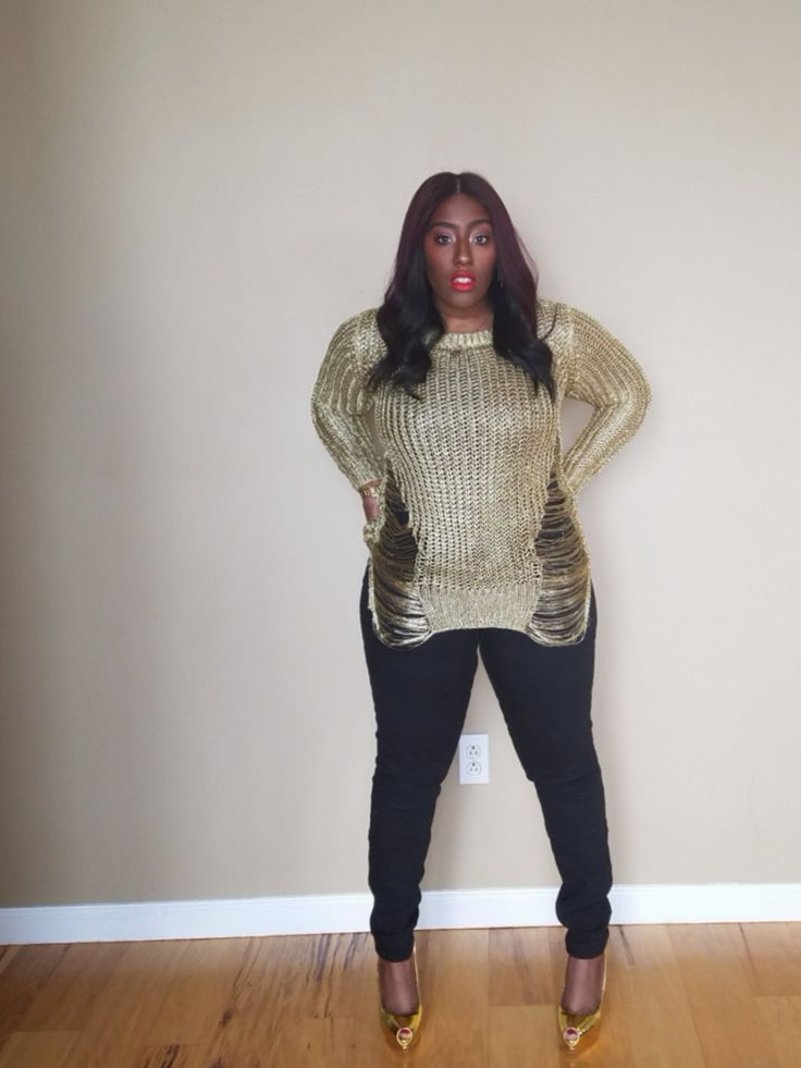 Solid Gold Distressed Sweater · La Femme Rebelle Clothing · Online Store Powered by Storenvy