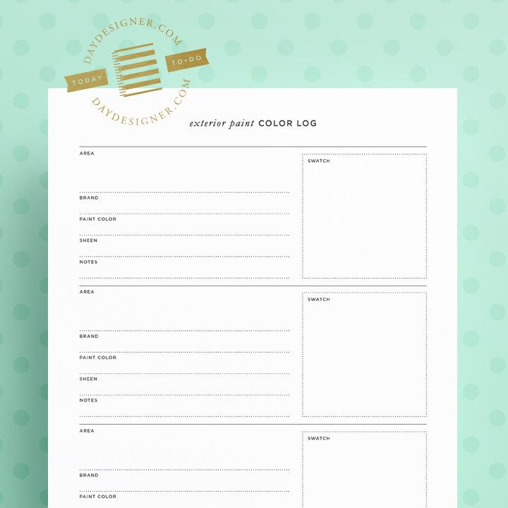 Free for a limited time this exterior paint color log for Paint planner