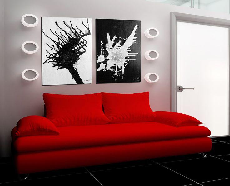 DUO+černá+a+bílá+2+abstraktní+obrazy+50x70+pro+interiér,+signováno