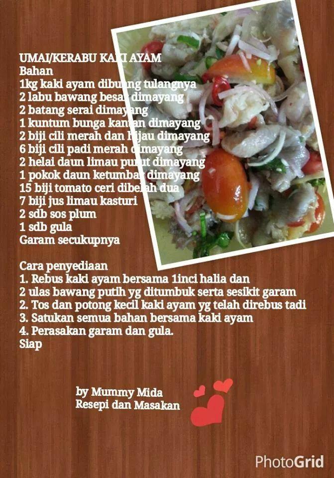 20 best recipe images on pinterest asian menu and 1 kerabu kaki ayam ccuart Choice Image