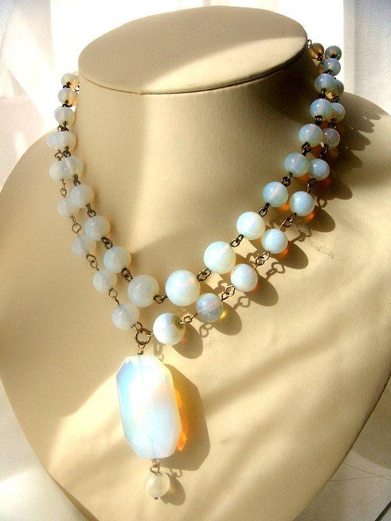antique necklaces opal glass Victorian era 2 pieces от ODMIVINTAGE