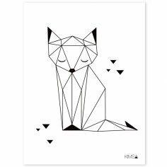 Poster géométrique renard Origami play by Claudia Soria (30 x 40 cm) - Lilipinso
