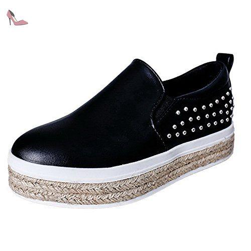 AgooLar Femme Tire Rond à Talon Bas Pu Cuir Couleur Unie Chaussures Légeres, Noir, 38 - Chaussures agoolar (*Partner-Link)