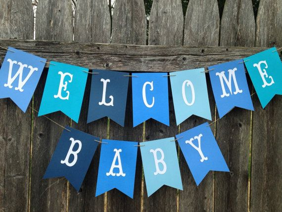 Welcome baby banner. Welcome baby sign. Baby boy shower decoration. Baby shower…