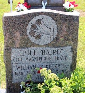 The grave of Bill Baird, the Magnificent Fraud, in Lakeside Cemetery, Colon, Michigan