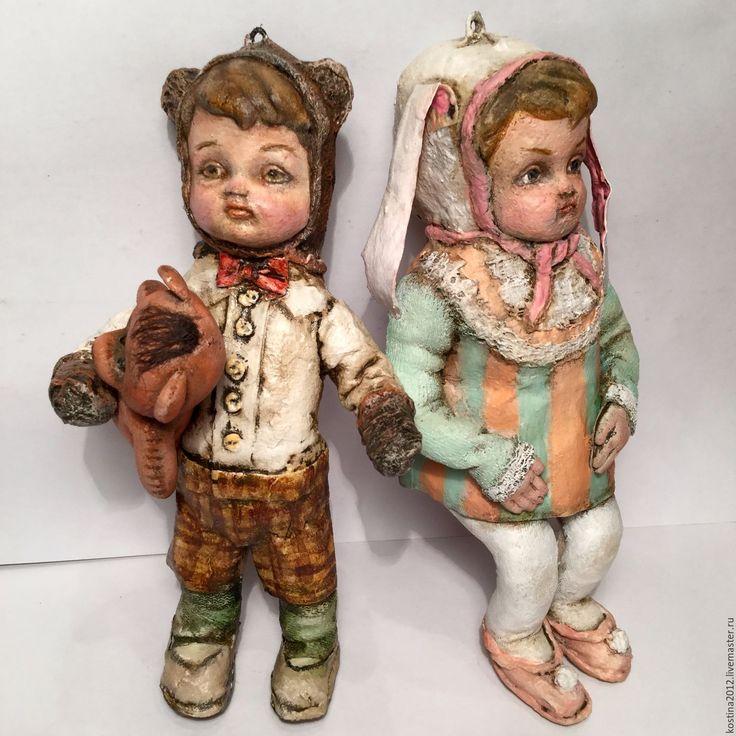 Купить Елочные куклята - комбинированный, ватное папье-маше, Папье-маше, елочные игрушки