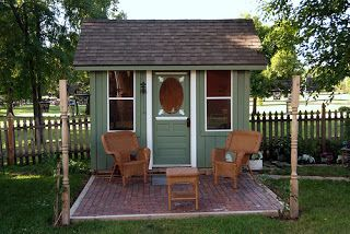 TINY GREEN CABIN- A backyard shed/office/and playhouse- you choose....