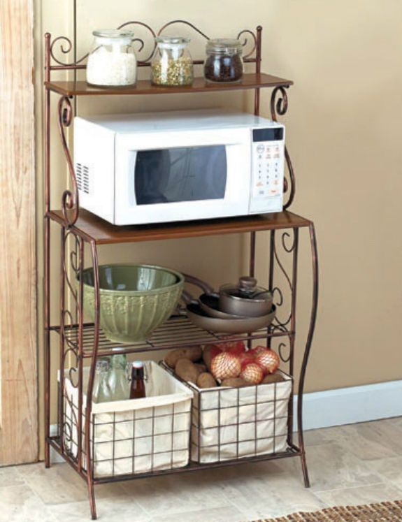 Bakers Rack 2 Baskets Kitchen Storage Metal Microwave Stand Rustic Wood Shelf