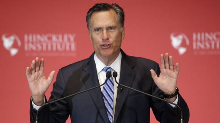 2012 Republican presidential candidate Mitt Romney weighs in on the Republican presidential race during a speech at the The University of Utah, Thursday, March 3, 2016, Salt Lake City. The 2012 GOP presidential nominee has been critical of front-runner Donald Trump on Twitter in recent weeks and has yet to endorse any of the candidates. (AP Photo/Rick Bowmer)