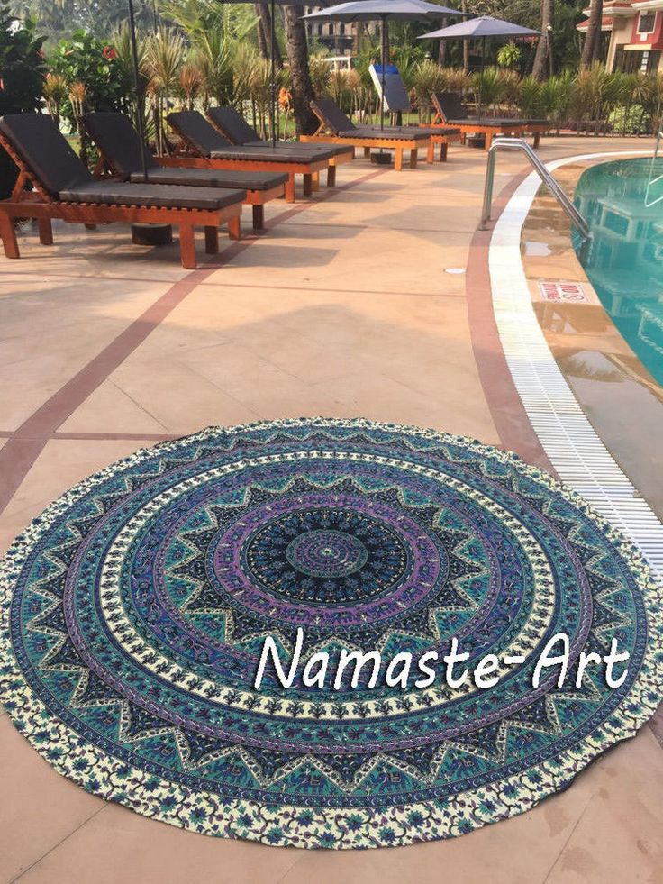 72'' Bohemian Round Mandala Wall Hanging Beach Art Towel Yoga Mat Throw Tapestry #Unbranded #ArtDecorStyle