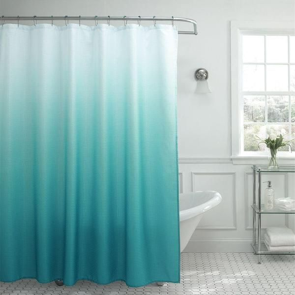 """Modern Ombre Waffle Weave Shower Curtain with Matching Metal Roller Rings - 70""""x72"""""""