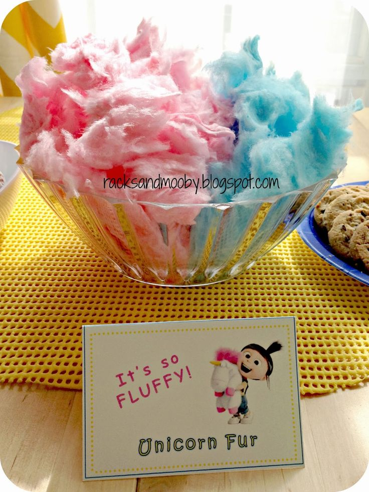minion party snacks | Despicable Me Party - Fluffy Unicorn Fur (cotton candy)