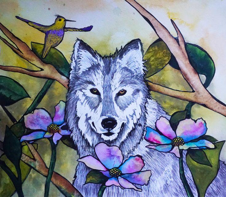 """""""The Wolf""""  Visit my Etsy shop: www.sweetpeafineart.etsy.com View my artist website: www.sweetpeafineart.com"""