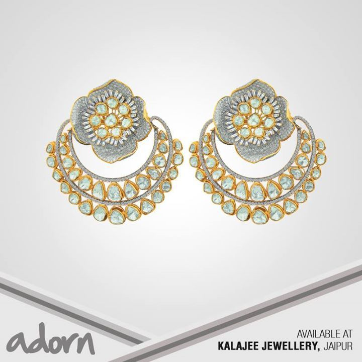 Adorn features Kalajee Jewellery Jaipur's earrings. A stylised flower post teeming with full-cut white #diamonds and adorned with uncut diamonds and baguettes terminates into a two-row #baali adorned with #polkis. To know more about fine #Jewellery visit www.kalajee.in