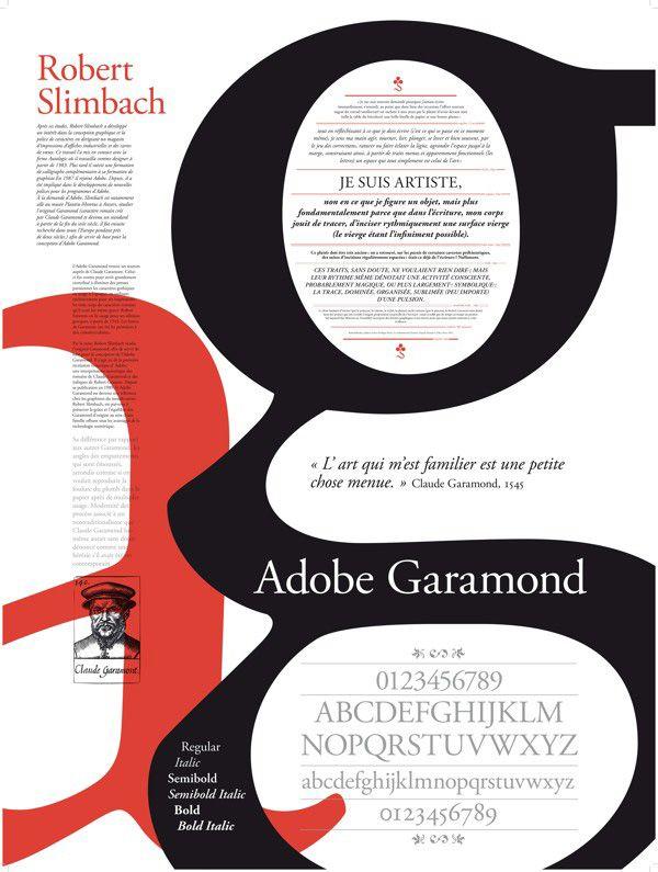 Tipografía GARAMOND (1534) Romana antigua humanista / Mantiene trazos gestuales / Elegancia / Sencillez / Equilibrio / Forma & Función.