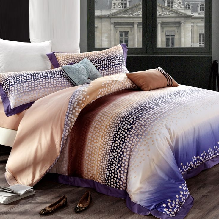 Purple and Champagne Personalized Abstract Geometric Pattern Durable 100% Egyptian Cotton Full, Queen Size Bedding Sets