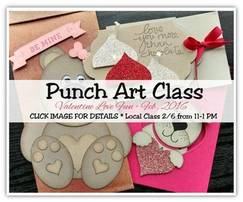 Punch Art Class Feb 2016 valentines love fun tutorial avail.