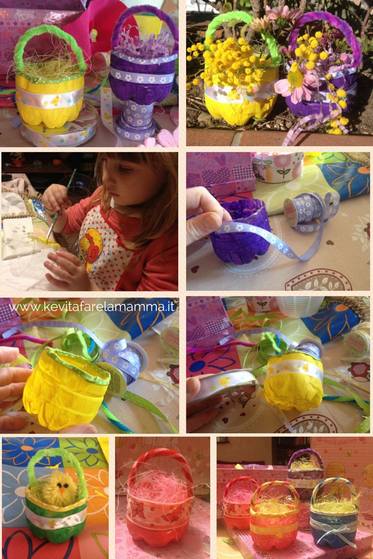 La mia proposta per #handmadeeaster #thecreativefactory vasetti di Pasqua a tutto riciclo, realizzati con bottigliette di plastica