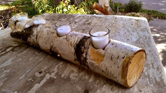 Rustic White Birch Candle Centerpiece, Etsy