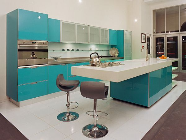 Custom built glossy blue and white kitchen design    Another great example of bold color - amazing glossy blue – by Mal Corboy Design: Kitchen Remodel: 101 Stunning Ideas for Your Kitchen Design