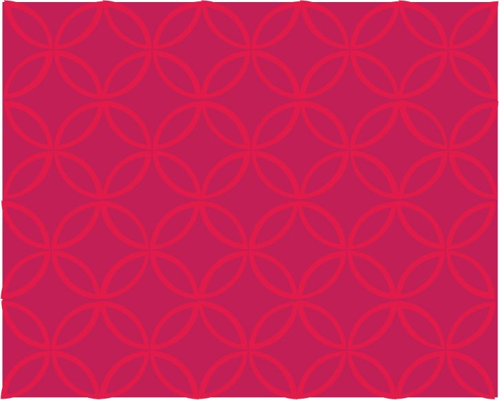 Intersecting Circles - Mexican Pink and Red