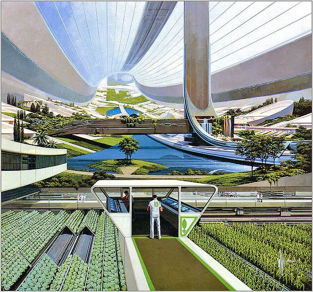 Orbiting space colony - Syd Mead (via x-ray delta one album @ Flickr)