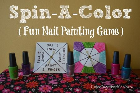 Spin a colour nail painting game - girls day idea!