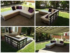 """#Garden, #PalletSofa, #RecyclingWoodPallets Garden couch done with 6 """"EURO"""" pallets, pillows made with Ikea baby mattresses."""
