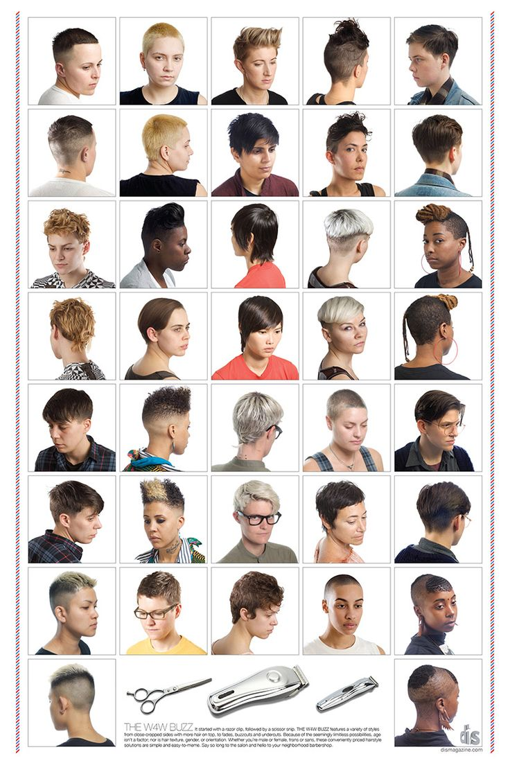 Revisioning Aspirational Hair » Sociological Images. In an effort to disrupt the dominant images about what women's hair should look like, Lauren Boyle and Marco Roso created an alternative aspirational beauty salon poster that offers women a set of hairstyles usually associated with lesbians.  The collection of these creative and varied haircuts bring into stark relief the hyper-feminized options most women encounter at the salon.