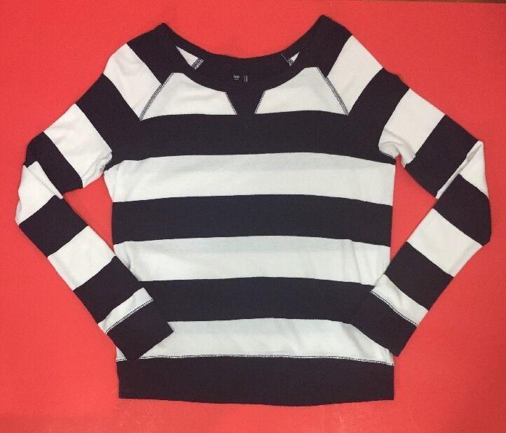 Gap Womens Super Soft Striped Shirt Navy Blue White Scoop Neck Raglan Sleeves #Gap #LongSleeveRugbyStripedTee #Casual