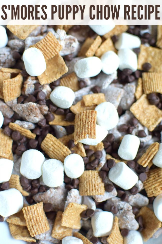 Get the recipe for this easy Smores Puppy Chow Recipe that's perfect for a summer snack or birthday party. AD @disneyjunior #DisneyJuniorFRiYAY