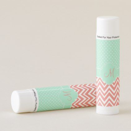 Monogram Coral Chevron with Mint Polka Dot Pattern Lip Balm - patterns pattern special unique design gift idea diy