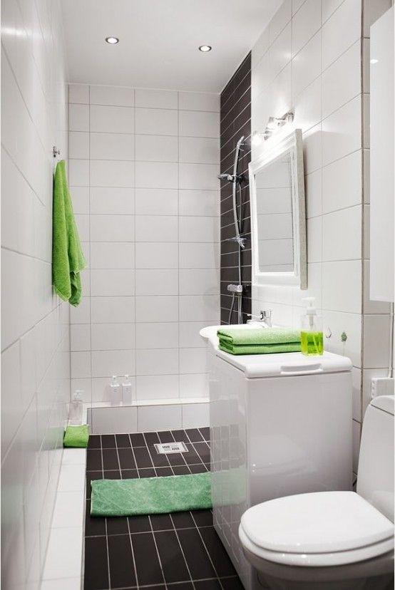 bagno piccolo bianco e verde