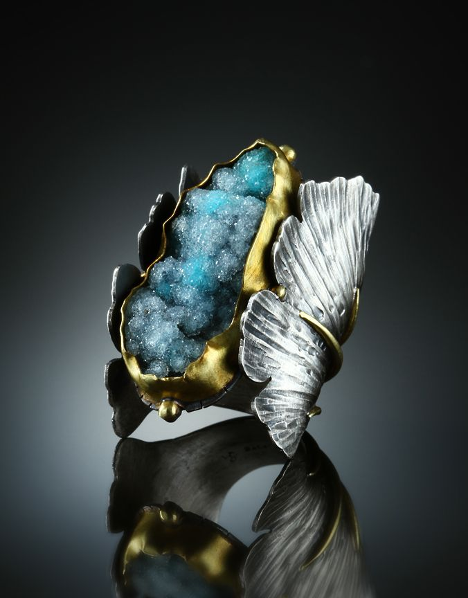 Jewelry | Jewellery | ジュエリー | Bijoux | Gioielli | Joyas | Art | Arte | Création Artistique | Artisan | Precious Metals | Jewels | Settings | Textures | Ring | Amy Buettner. Druzy Chrysocolla, Sterling Silver and 18k Gold.